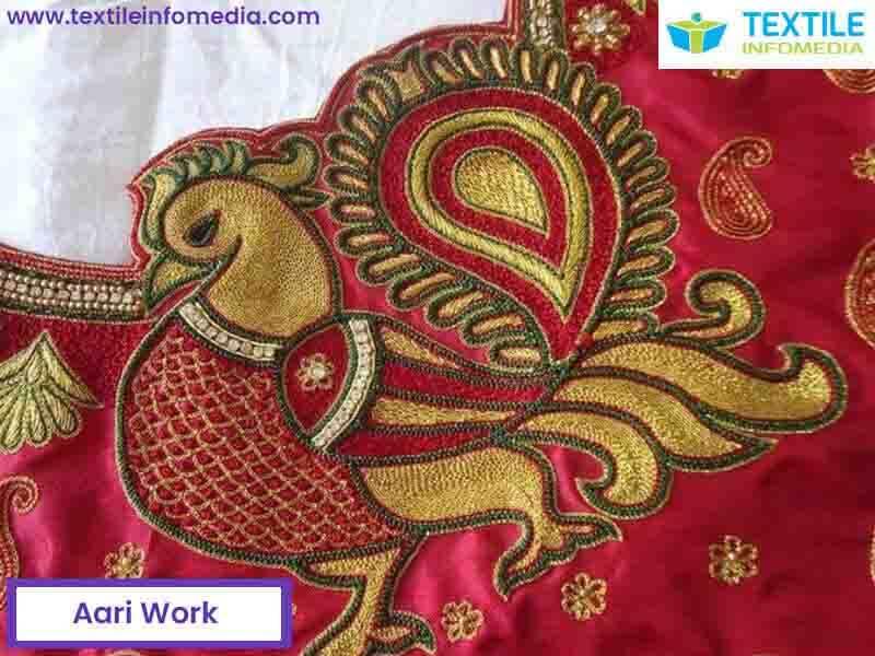Aari work value additional pari job on saree