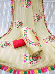 Chanderi Silk With Embroidered Dress material