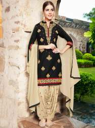 latest designer embroidery work black color suit