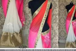 White And Pink Red Shaded Net Pallu Designer Saree