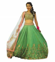 Golden Green Lehenga