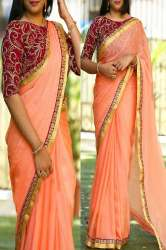Peach Colored Partywear Embroidered Chiffon Saree