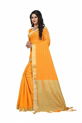 yellow line j card silk saree by Fashion Vogue