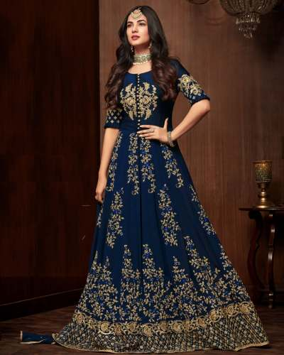 Georgette Embroidered Gown Maisha 1107 by Q And Q Creation