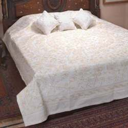 white Chikan Bedsheets