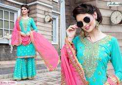Georgette Embroidered Salwar Suit With Plazo