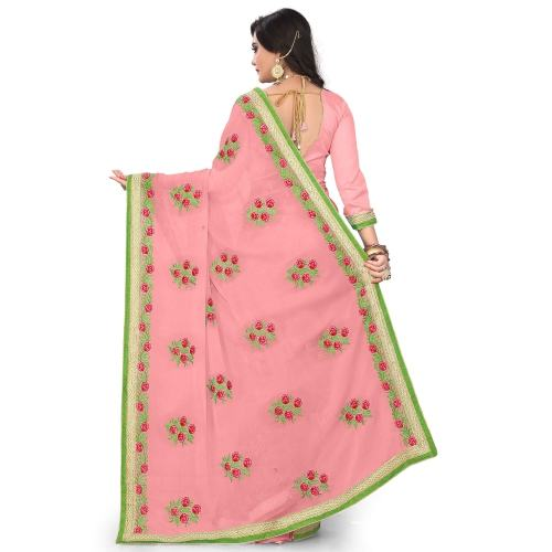 Embroidered Georgette Sarees by Rudra Fashion
