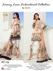 Designer Lawn suit with Embroidery1