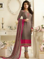 Designer Printed with Embroidered Straight Suit3