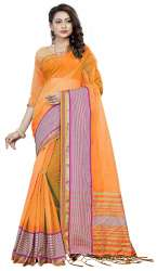 Nena Fashion Women's orange Cotton Saree