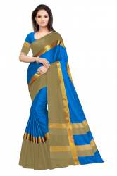 Nena Fashion Womenfirozi golden Cotton Saree(angi)