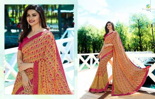 KRISHNA SAREE Georgette with jacquard lace border