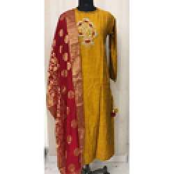 Pattern Kurti With Hand Work And Banarasi Dupatta