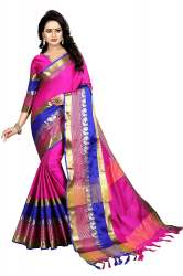 Pink And Blue Silk Jacquard Saree