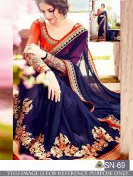 Designer Blue Color Georgette Embrodary Work Saree