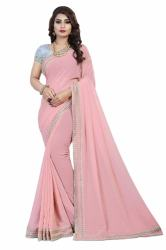 DESIGNER PINK LESS WORK SAREE