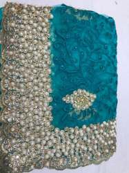 Fancy Diamond Saree With Embroidery Blouse