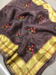Grand Embroidery Work Orgenza Saree