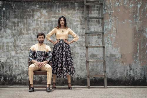 Valentine's special designer couple Top Or Shirt by Surati fabric