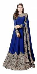 Heavy Codding Georgette Blue Gowns
