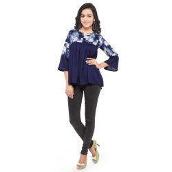Royal Export Women s Blue Square Printed Rayon Top
