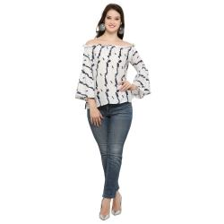 Royal Export Women s White Crack Printed Rayon Top