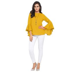 Royal Export Women s Yellow Flute Printed Rayon Top