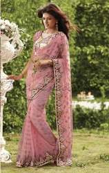 modern net embroidery saree