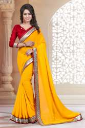 Yellow Colored Georgette Saree.