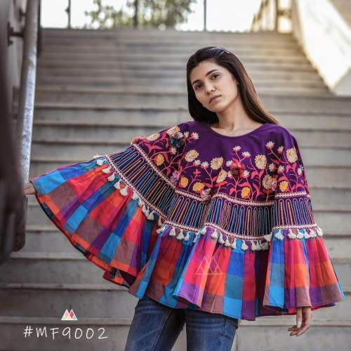 print with embroidered poncho by Fashion Valley Dresses