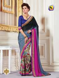 fancy net half half saree