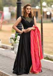 Black Color Anarkali Suit With Fancy Dupatta