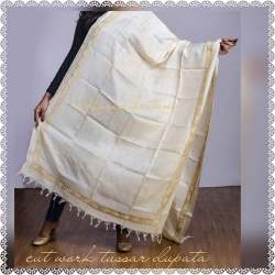 Cutwork Embroidery On Tussar Dupatta