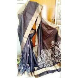 Tussar Silk Saree With Jamdani Pallu