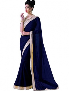 Fancy Plan With Gold Boder Sarees