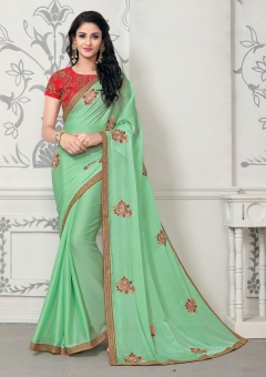 DESIGNER LIGHT GREEN MOSE CHIFFON SAREE