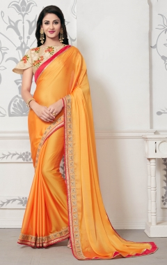 DESIGNER ORANGE MOSE CHIFFON SAREE
