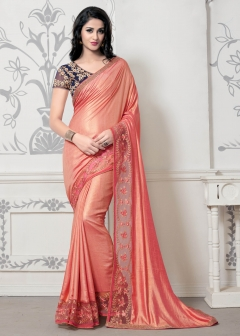 DESIGNER PEACH SILK SAREE
