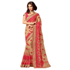 DESIGNER RED BEIGE NET SAREE