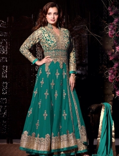 FABLIVA AQUA BEIGE EMBROIDERED NET SEMI STITCHED ANARKALI SUIT