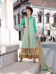 FABLIVA AQUA CREAM EMBROIDERED FAUX GEORGETTE SEMI STITCHED ANARKALI SUIT