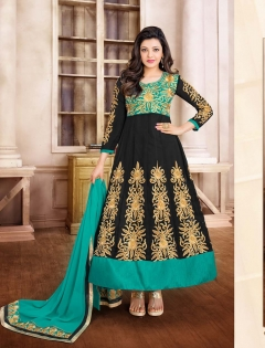 FABLIVA BLACK AQUA EMBROIDERED GEORGETTE SEMI STITCHED ANARKALI SUIT