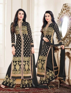 FABLIVA BLACK BEIGE EMBROIDERED GEORGETTE SEMI STITCHED STRAIGHT SUIT