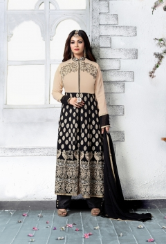 FABLIVA BLACK CREAM EMBROIDERED FAUX GEORGETTE SEMI STITCHED STRAIGHT SUIT
