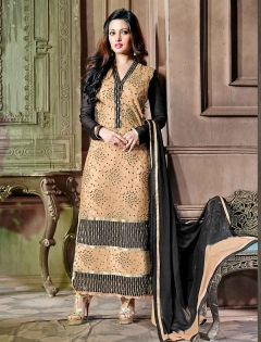 FABLIVA BLACK CREAM EMBROIDERED NET GEORGETTE SEMI STITCHED STRAIGHT SUIT