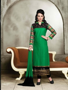 FABLIVA BLACK GREEN EMBROIDERED COTTON SEMI STITCHED STRAIGHT SUIT