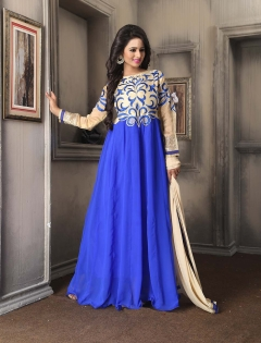 FABLIVA BLUE CREAM EMBROIDERED CHIFFON SEMI STITCHED STRAIGHT SUIT