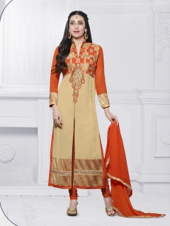 FABLIVA CREAM ORANGE EMBROIDERED FAUX GEORGETTE SEMI STITCHED STRAIGHT SUIT