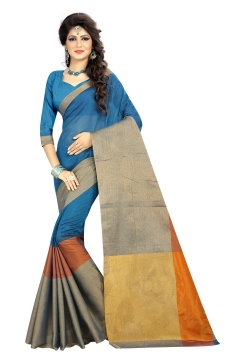 FABLIVA DESIGNER AQUA ORANGE BEIGE COTTON SAREE