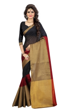 FABLIVA DESIGNER BLACK BEIGE MAROON COTTON SAREE
